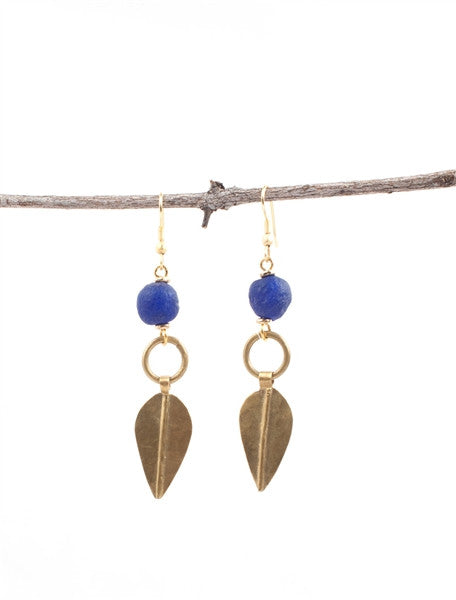 Leaf Drop Brass Earrings