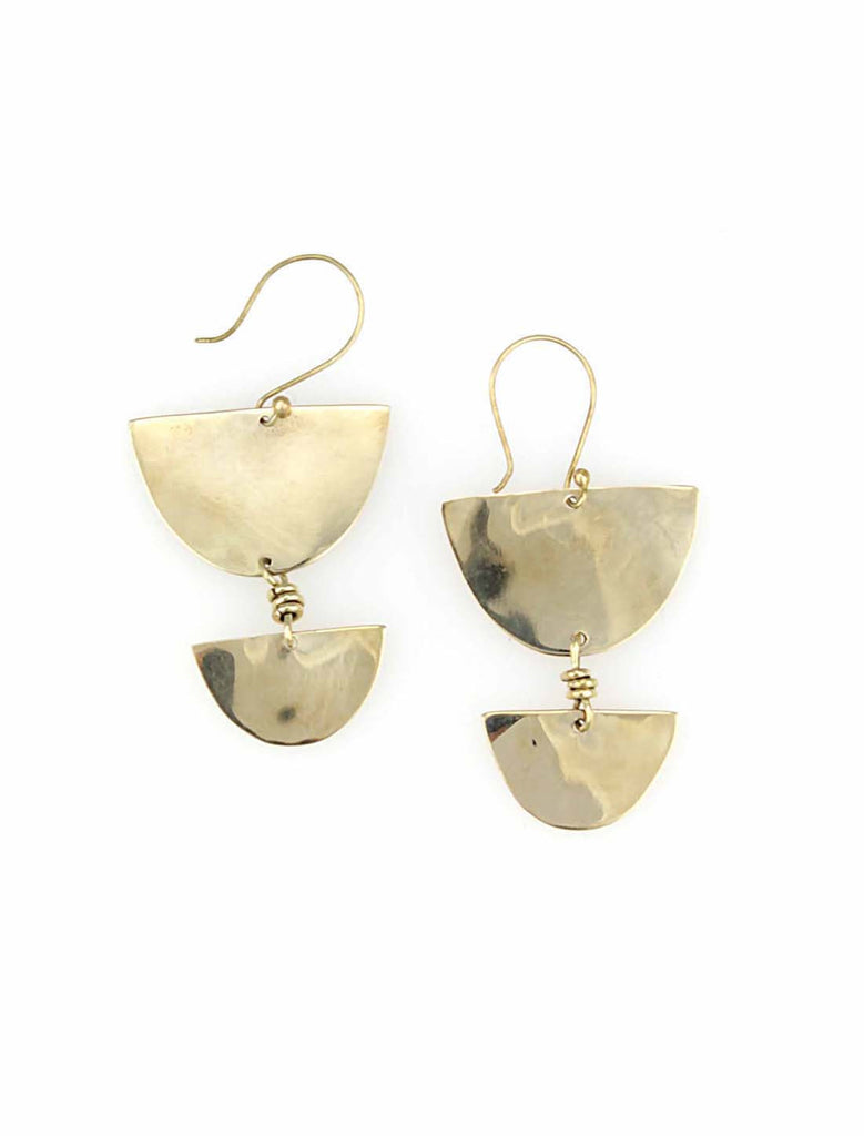 Brass half moon drop earrings