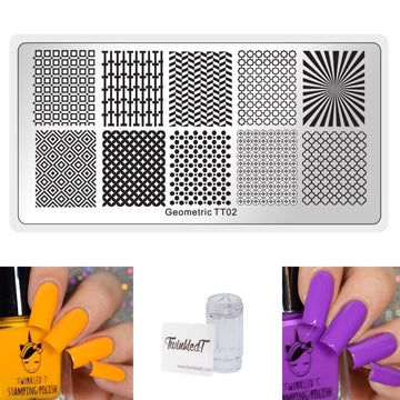 Geometric 2 Set - Plate, Polishes, Stamper, & Scraper