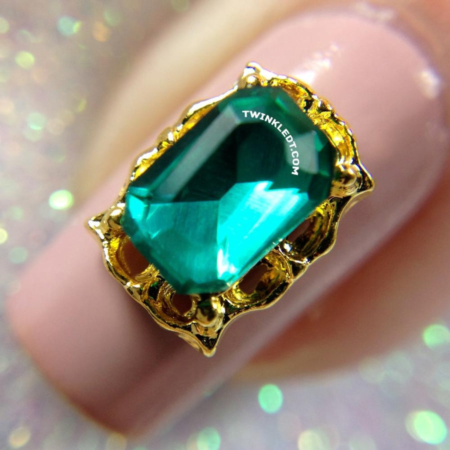 Gold Framed Emerald Charm