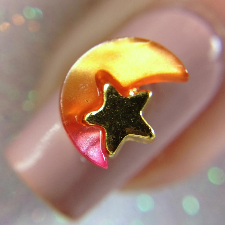 Pink Duochrome Moon Charm