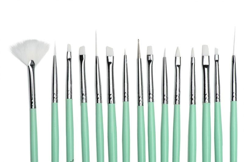 Twinkled T Mint Coco Nail Art 15 Pc Brush Set - Twinkled T - 2