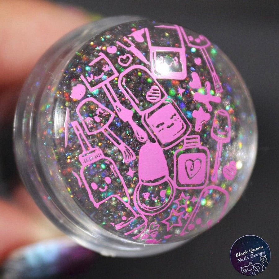 Mini Holo Head Clear Stamper & Scraper and Unicorn Brush Set