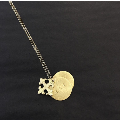The Vivian (14k gold filled chain, two engraved charms and celtic cross)