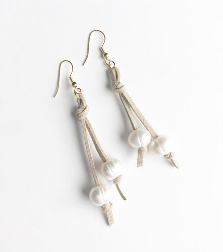Pearl and Suede Earrings