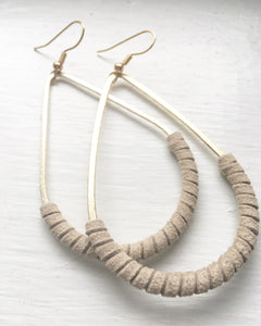 SALE Teardrop Suede (taupe) Wrapped Earrings (reg $38)