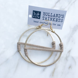 Suede Wrapped Hoops (taupe)