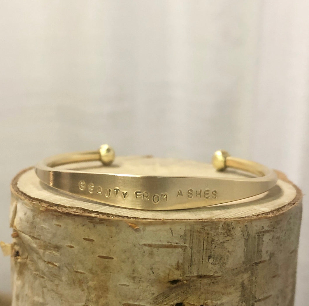 """Beauty from Ashes"" Brass Cuff"