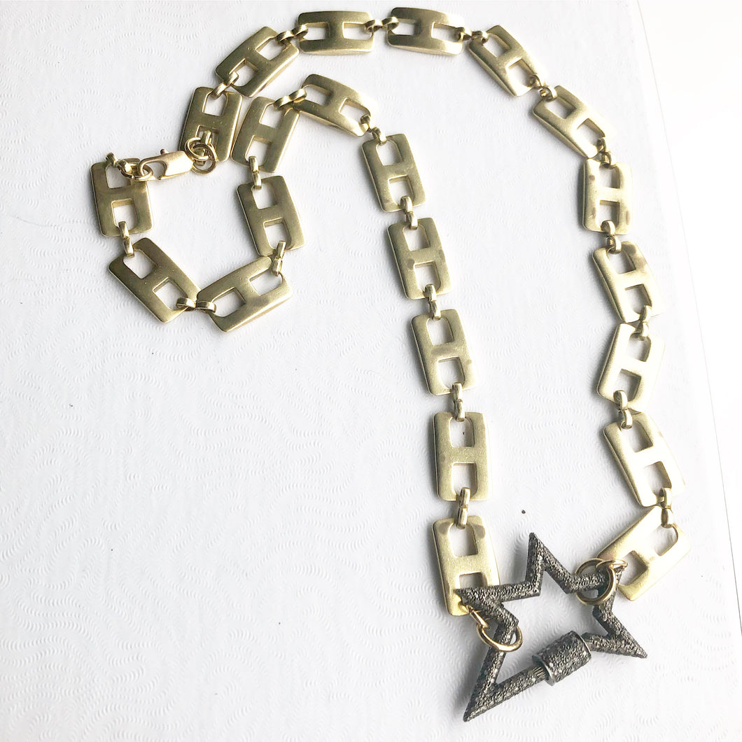 Pave Star lock Necklace