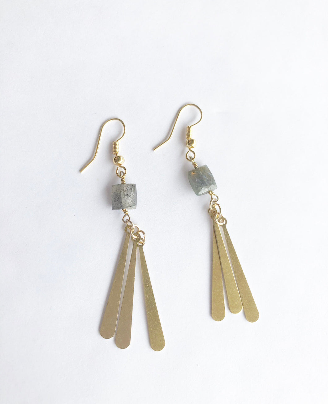 Labradorite and Vintage Spikes Earrings