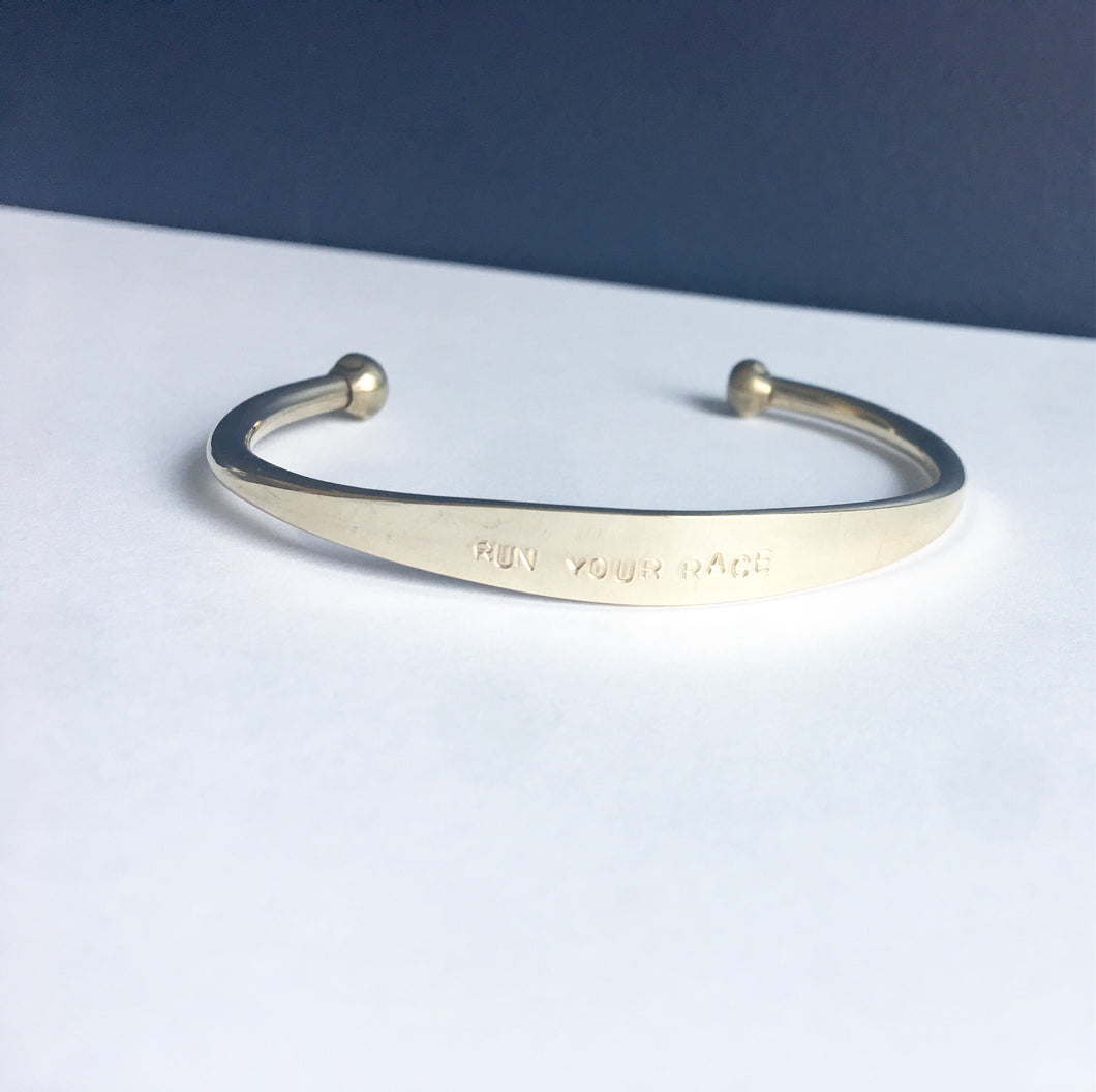 Hope For Autumn Run Your Race Brass Cuff