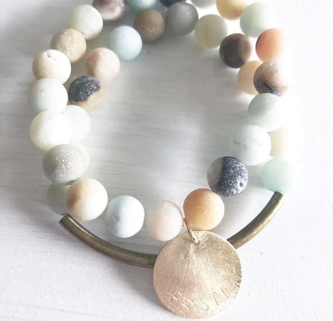 Second Story Frosted Amazonite Charm Bracelet
