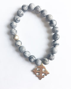 Picasso Matte Beads with Celtic Cross