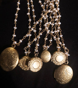 "Vintage Lockets on 16"" freshwater pearl chain"