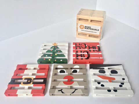 25 [Mini] DIYs Of Christmas Mini Materials DIY Miniature Christmas Pallet Coasters