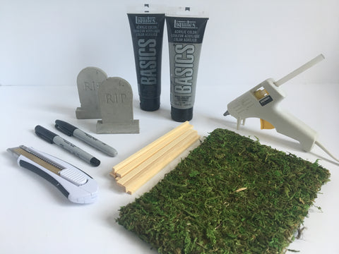Supplies for DIY Miniature Graveyard