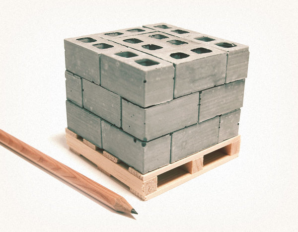 mini cinder blocks on pallet