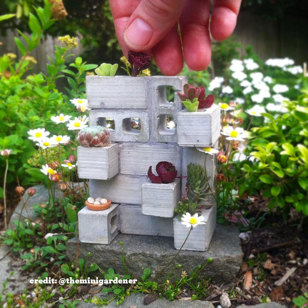 Fairy garden mini cinder block planter