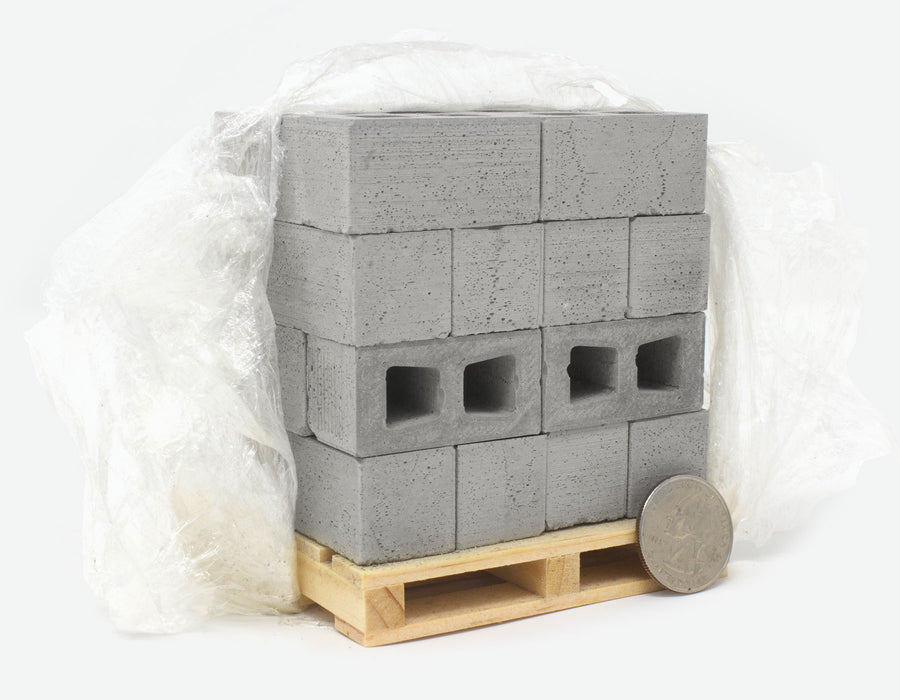 1:10 Scale Miniature Cinder Blocks 24pack on Pallet