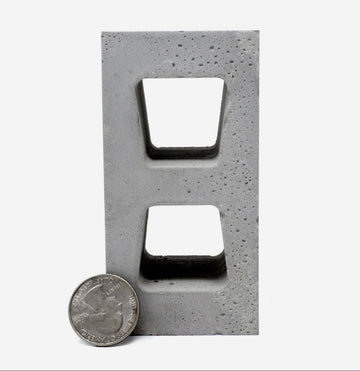 1:4 Scale miniature cinder block with a quarter to scale, limited stock item.