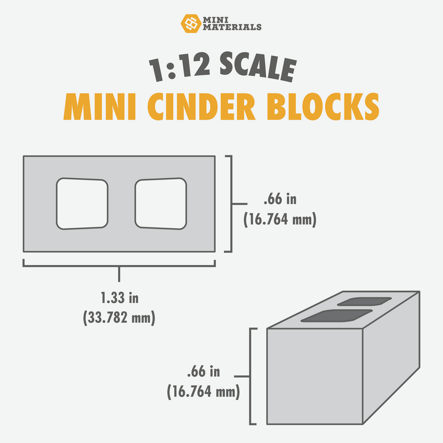 1:12 Scale Mini Cinder Blocks (300pk)