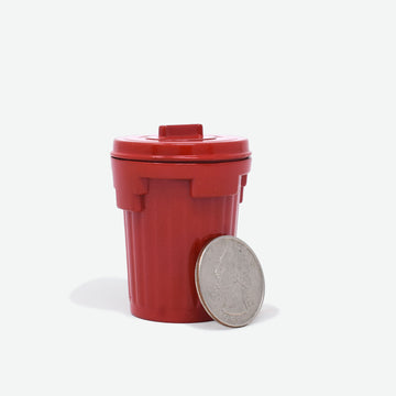 1:12 Scale Metal Trash Can with Lid - Red