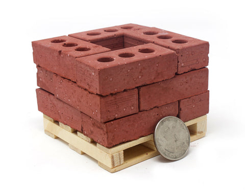 1:4 Scale Mini Red Bricks (12pk + Pallet)