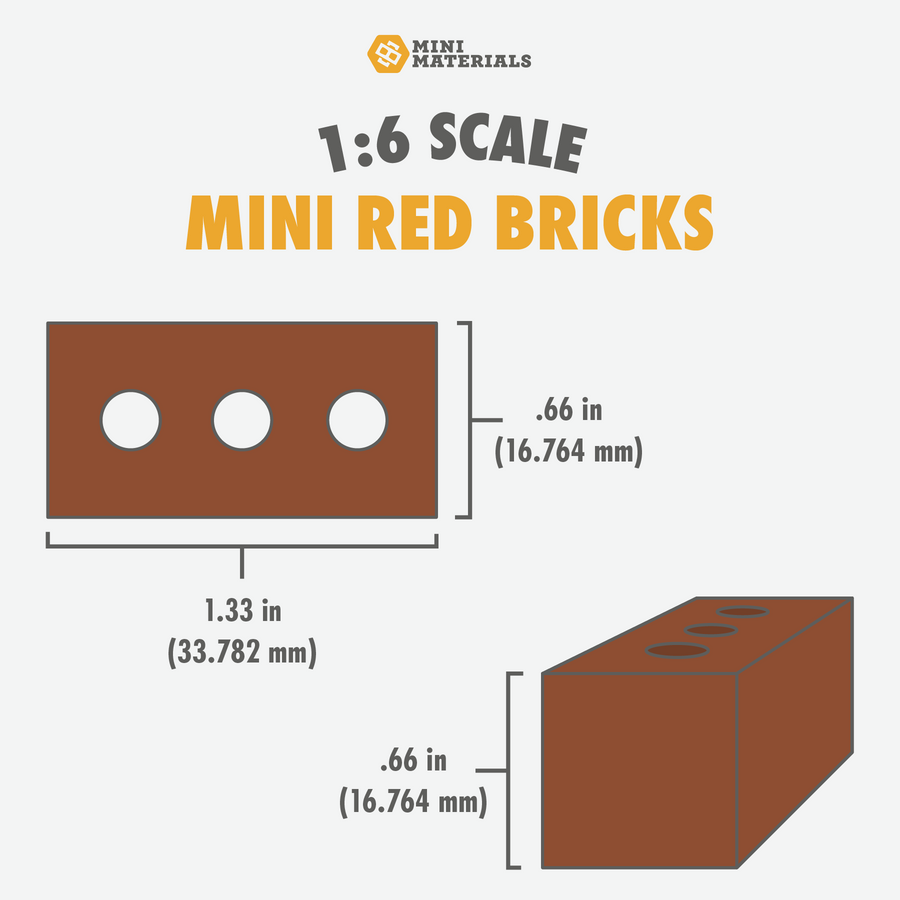 1:6 Scale Mini Red Brick Pallet (50pk)