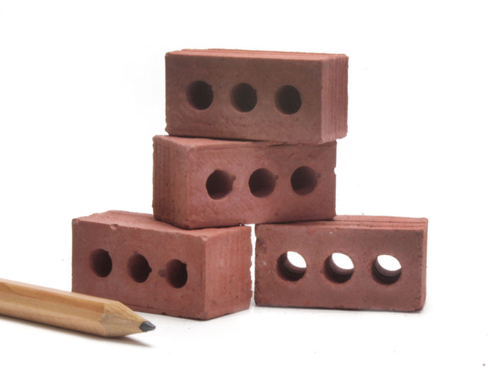 1:6 Scale Mini Red Bricks (4pk)