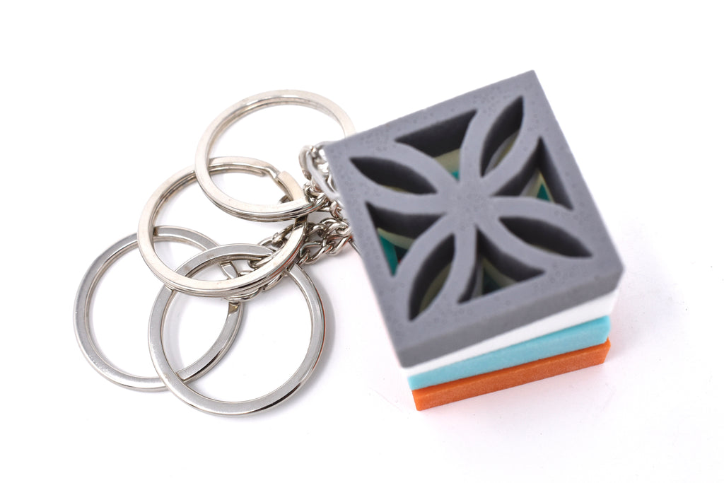 Midcentury Modern Breeze Block Keychain - Sunflower