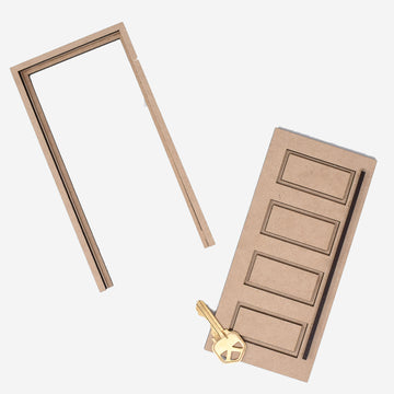 1:12 scale mid-century modern 4-panel door with long door handle and casement. There is a key laying on top of the door to show scale.