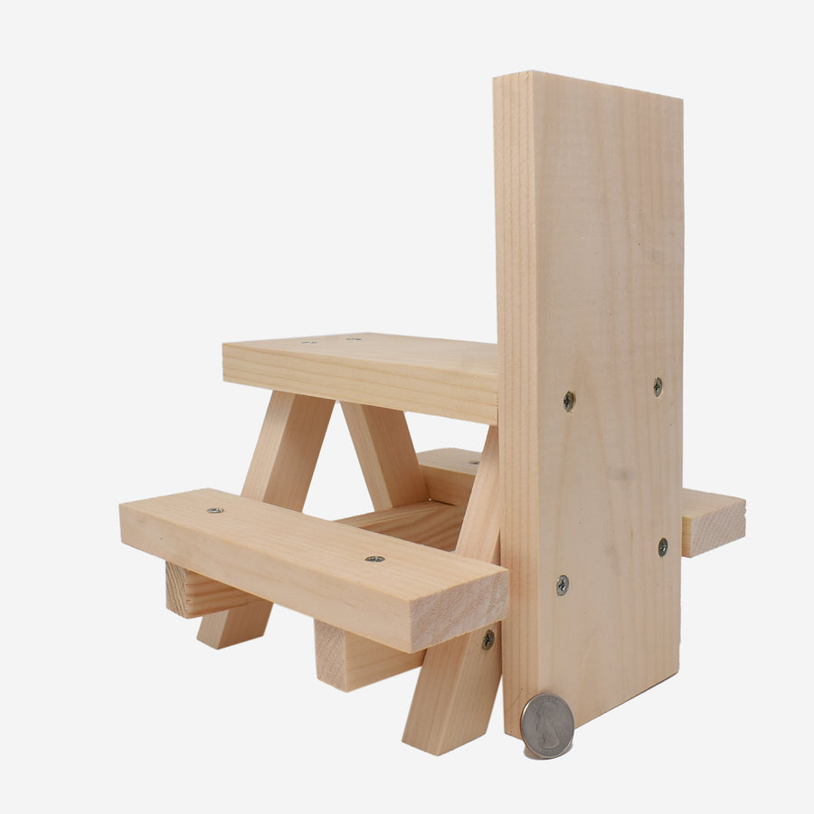 Mini Pine Wood Squirrel Picnic Table