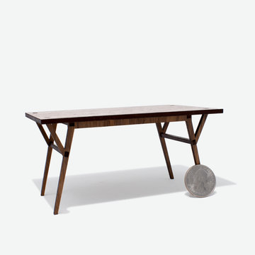 1:12 Scale Mini Mid-Century Modern Dining Table (Walnut)