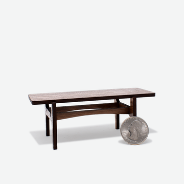 1:12 Scale Mini Mid-Century Modern Coffee Table (Walnut)