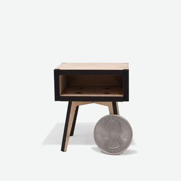 1:12 Scale Mini Mid-Century Modern Nightstand (Unfinished)