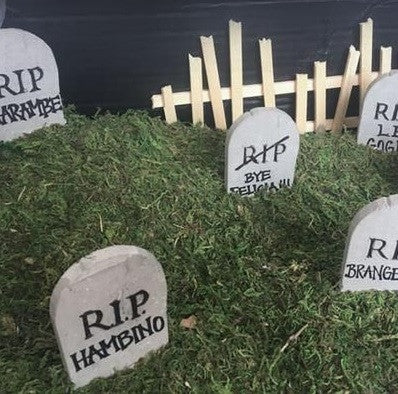 1:12 scale miniature tombstones with Rest In Peace (RIP) engraved, small tombstone diorama scene with RIP Harambe, Bye Felicia, RIP Brangelina, RIP Hambino