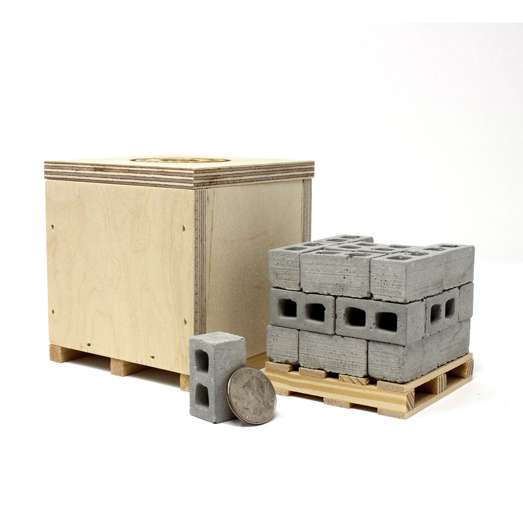 1:12 Scale Mini Cinder Block Pallet (24pk) + Mini Wood Crate