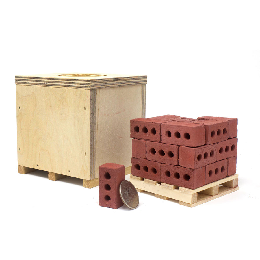 1:6 Scale Mini Red Brick Pallet (24pk) + Mini Wood Crate