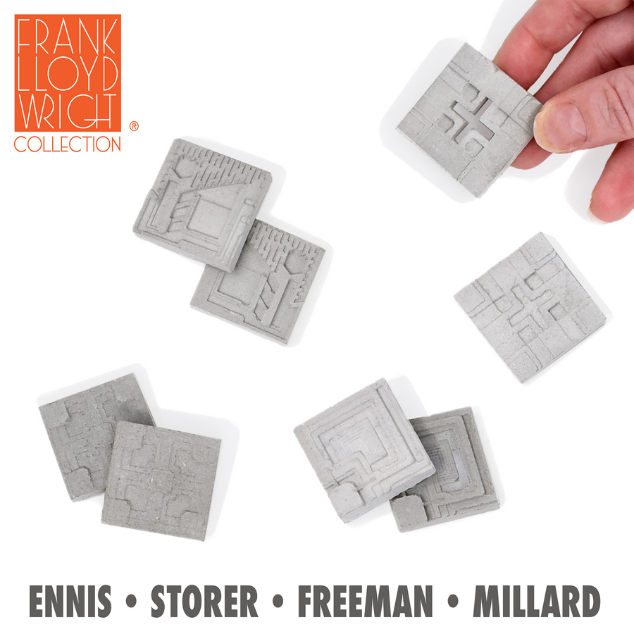 1:12 Scale Millard Concrete Textile Blocks (16pk) - Frank Lloyd Wright Collection
