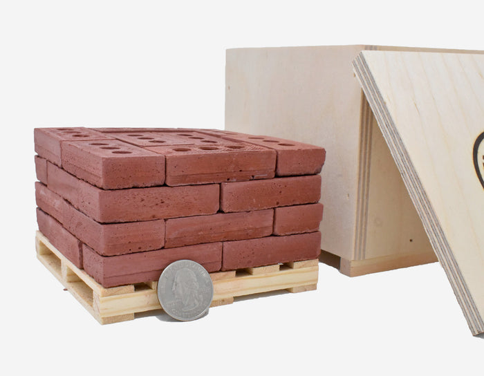 1:4 Scale Mini Red Bricks (32pk + Pallet in a Crate)
