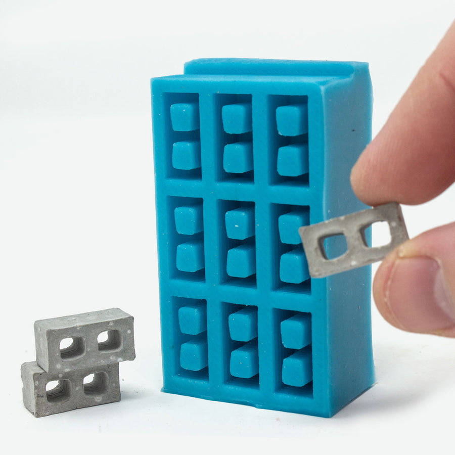 1:24 scale mini cinder block mold in turquoise.