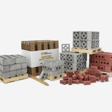 Mini Materials ultimate kit comes iwth 7 products, mahogany pallet 5pack, 1:12 cinder blocks 24pack on pallet, 1:6 red bricks 24pack on pallet, 1:12 vista view breeze block 24pack on pallet, 1:12 empress breeze block 24pack on pallet, 1:18 cinder blocks 24pack on pallet, and 1:12 scale red brick 50pack on pallet with pencil for scale
