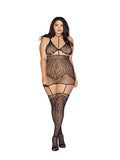 2 PIECE SWIRLED LACE FISHNET GARTER SET