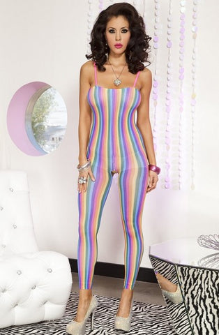 OPAQUE FOOTLESS RAINBOW STRIPE BODYSTOCKING
