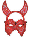 RED LACE DEVIL MASK HEADBAND