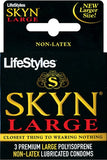 LIFESTYLES SKYN LARGE CONDOMS 3PK