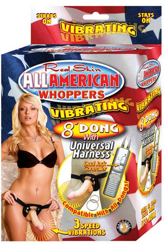 AMERICAN WHOPPERS 8IN VIBRATING STRAP-ON