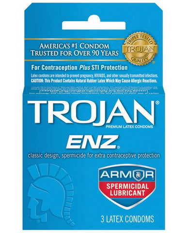 TROJAN ENZ SPERMICIDAL CONDOMS 3CT