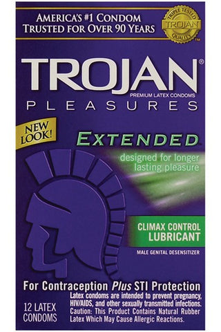 TROJAN EXTENDED PLEASURE CONDOMS 12PK