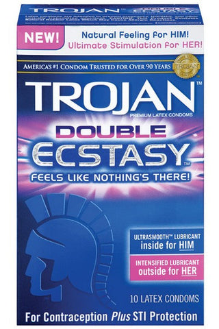 TROJAN DOUBLE ECSTASY CONDOMS 10PK